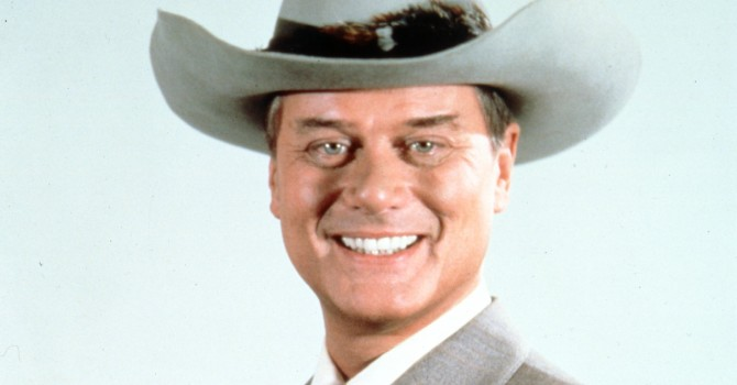 Larry Hagman as JR Ewing in Dallas, who shot JR?